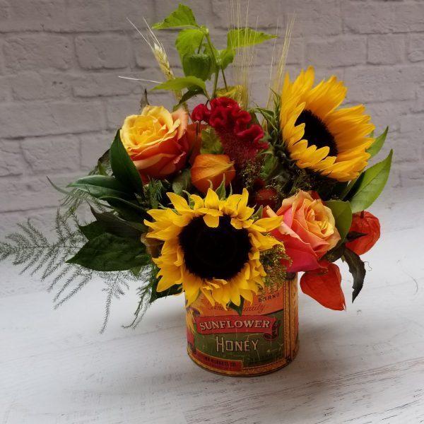 autumn harvest sunflowers rustic