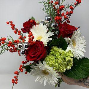 christmas berries shiny red white green