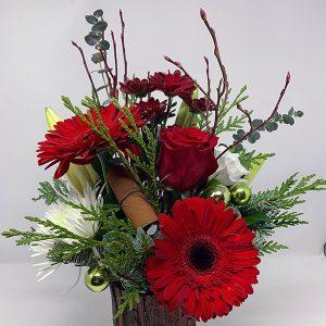 christmas cabin red gerbera roses balls