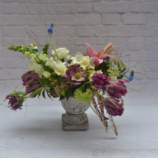 country garden white purple vase