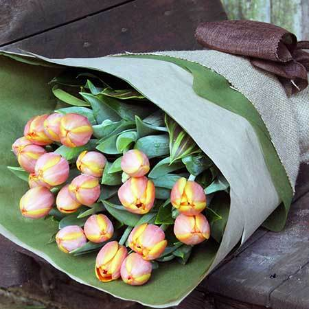 tulips wrapped bouquet