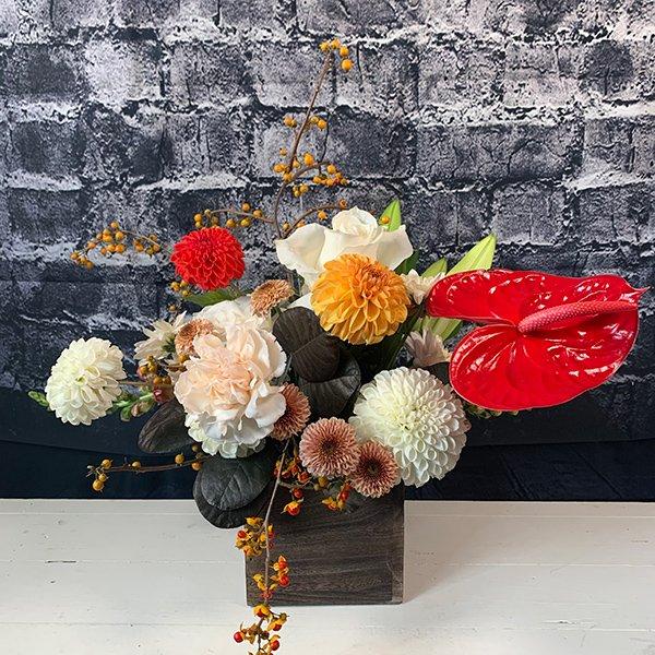 autumn anthurium vase arrangment