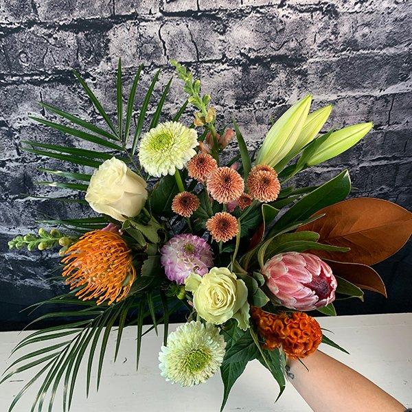 autumn protea bouquet tropical