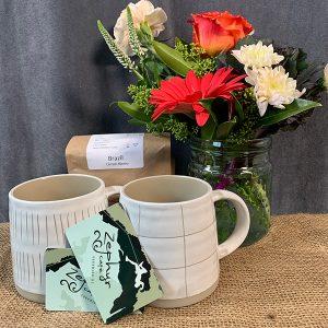 gift basket coffee flowers