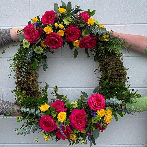 celebration life wreath bright colourful