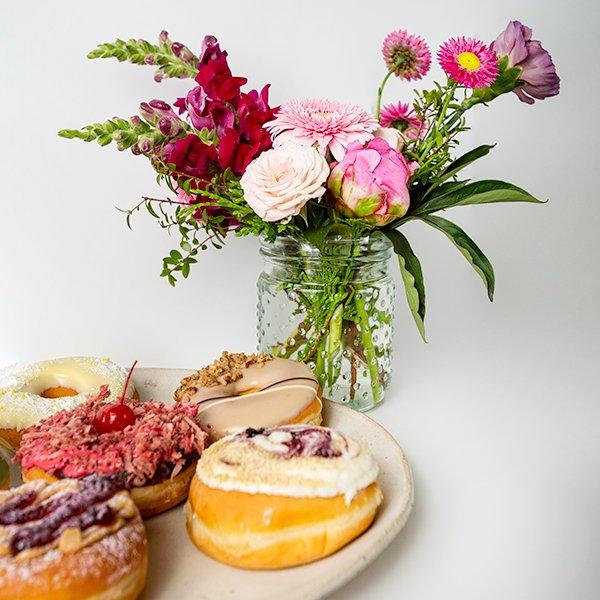 donut delight flowers half dozen donuts