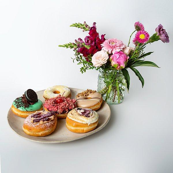 donut delight vase arrangement donut flowers