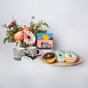 donuts and coffee anyone roses orange