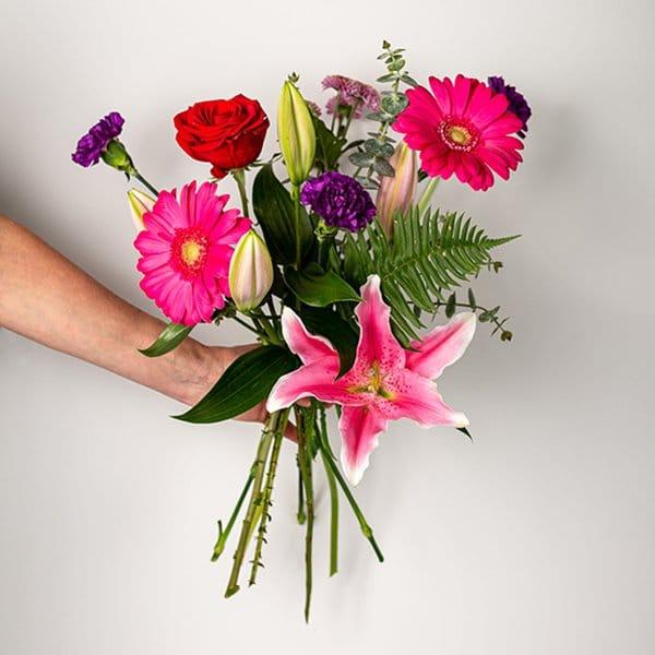 seasonal bouquet bright colourful pink purple