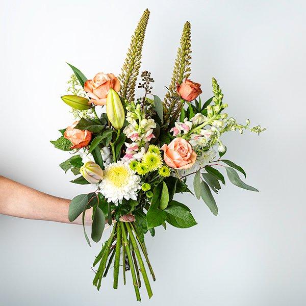 seasonal bouquet handtied blush pastel