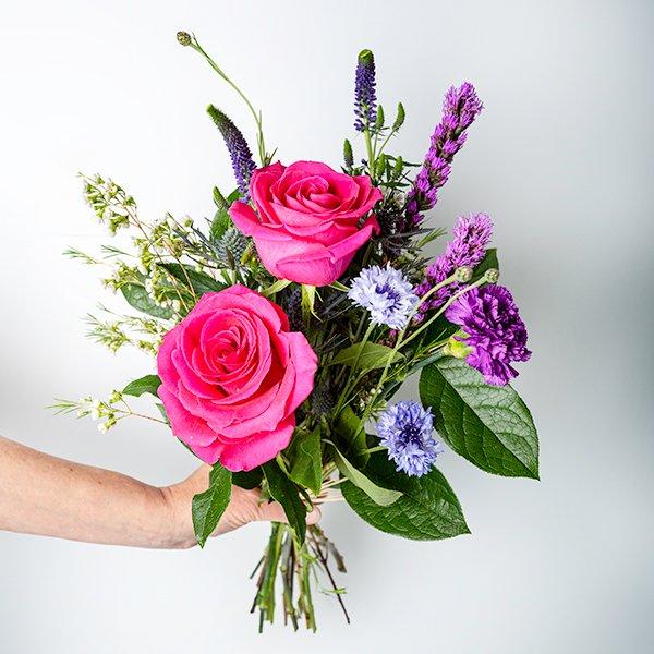 seasonal bouquet handtied brights pink
