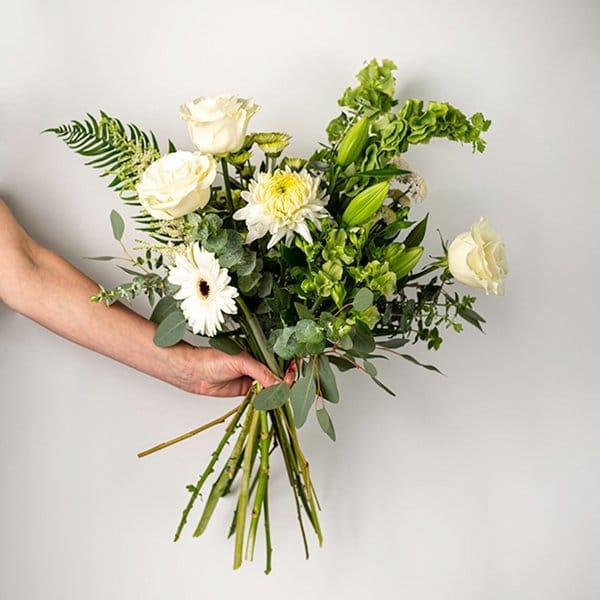seasonal bouquet white green pastel