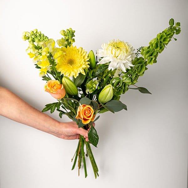 seasonal bouquet yellow green orange