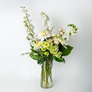 sympathy vase white green