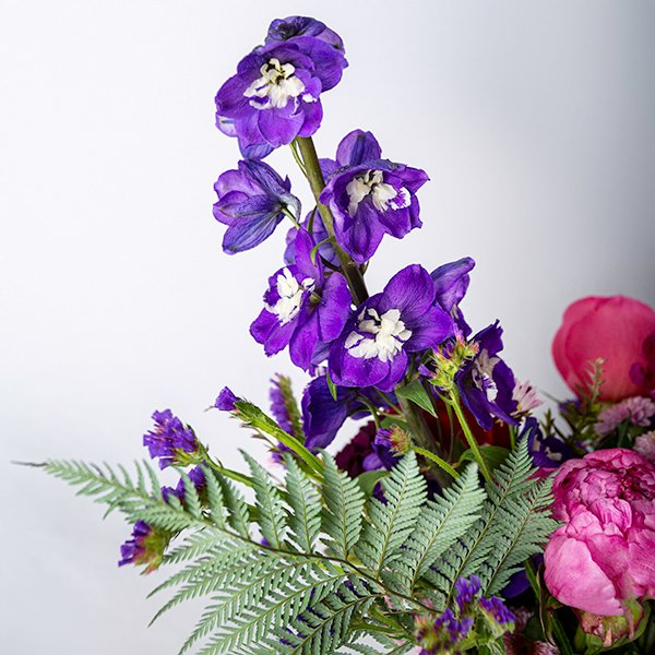 vase arrangement jewel tone purple pink