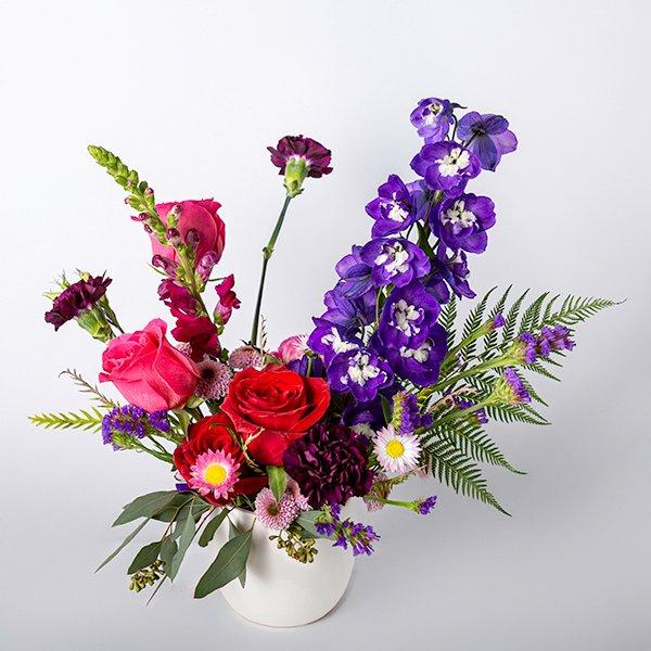 vase arrangment jewel tones