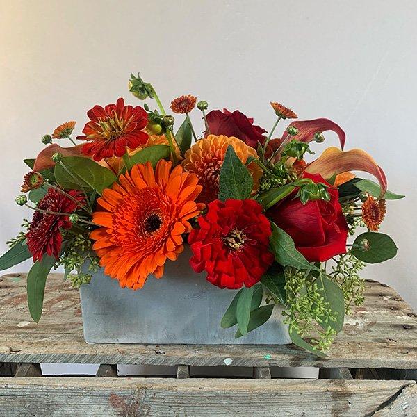 Autumn Centerpiece Orange & Red Zinnia