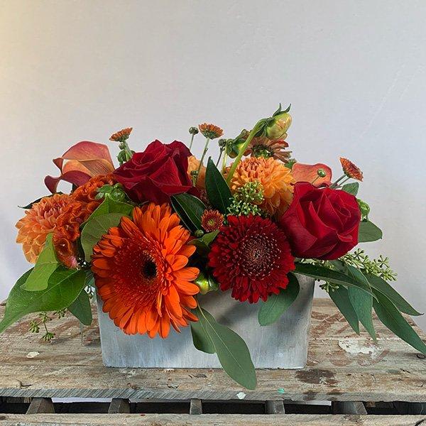 Autumn Centerpiece Red & Orange Gerbera