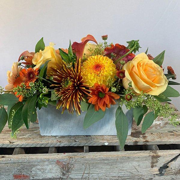 Autumn Centerpiece Orange, Red & Yellow