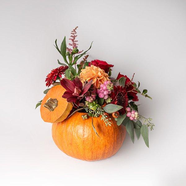Orange Pumpkin Autumn Arrangement