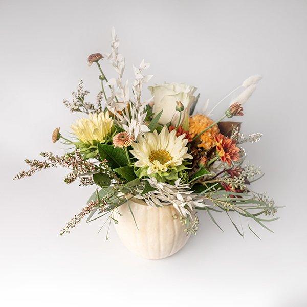 White Pumpkin Autumn Arrangement